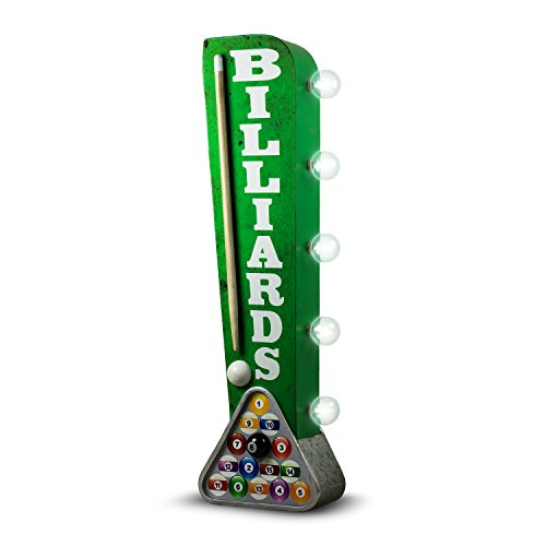 Billiards Pool Hall Reproduction Vintage Advertising Sign - Battery Powered LED Lights - Double Sided Metal Marquee Display - 25 x 6 x 4 inches