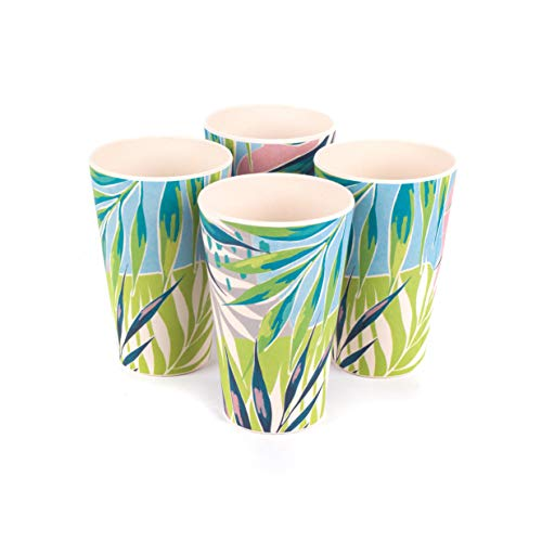 CAMBRIDGE CM06333 Lightweight Water Juice Reusable Cups, 400 ml, Set of 4, Kayan Print | Dishwasher Safe | BPA Free | Alternative to Single Use Plastics