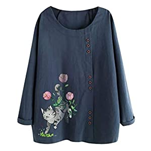 Women's Plus Size Tops   Floral Print Button Down Cotton Linen T-Shirt Casual Blouse