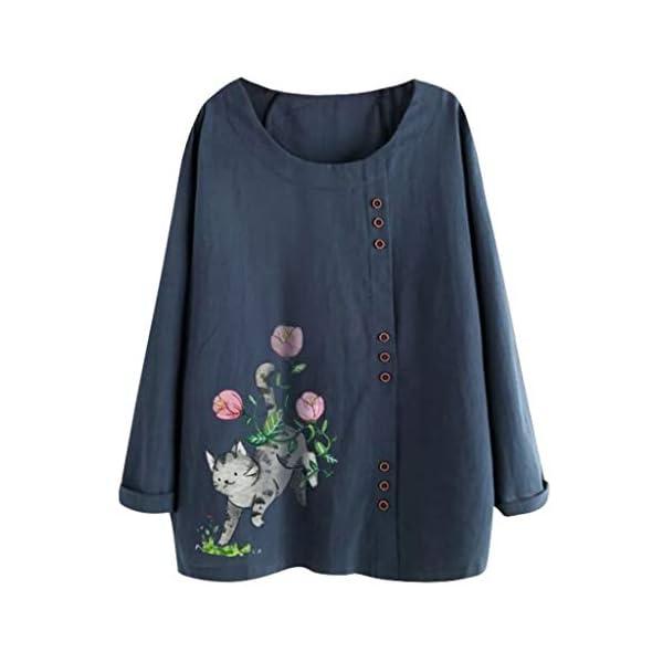Women's Plus Size Tops Floral Print Button Down Cotton Linen T-Shirt Casual Blouse 3