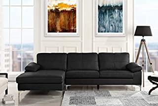 Leather Sectional Sofa, L-Shape Couch with Chaise (Black)