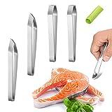 AMZ XianzhanEU 4 pinzas para espinas de pescado, de acero inoxidable, profesional, para eliminar huesos de pescado, con 1 pelador de ajos de silicona (2 estilos, oblicuo/plano)