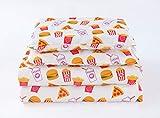 Twin Bedding Sheet Set Movie Popcorn Pizza Ice Cream Sleepover Theater