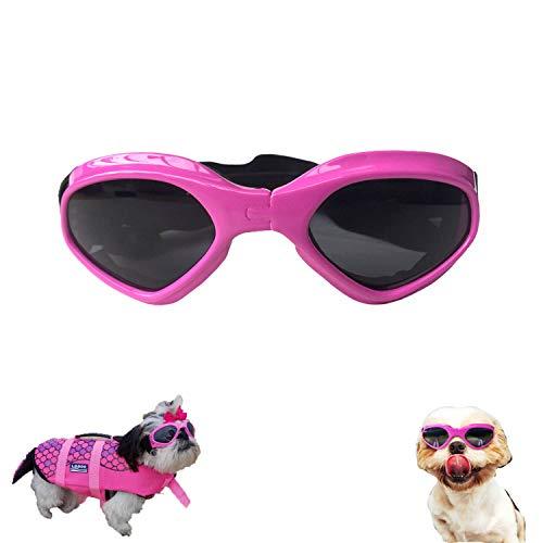 XUNKE Gafas de Sol para Perros, Perro Gafas para Perros pequeños y medianos Impermeable Plegable Protector Ocular Protección UV Antivaho (Rosado)