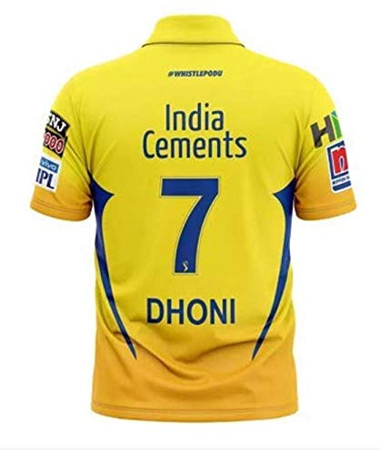 KD Cricket IPL Jersey Supporter Jersey T-Shirt 2019 with Print (Pant 17, DHONI 7, VIRAT 18 and Stokes 55) (DHONI 7, 40)