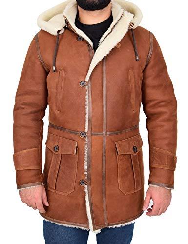 House of Leather Hombre Piel de oveja Real Duffle Abrigo 3/4 de Longitud Encapuchado Borrego Vincent Whisky (3x_l)