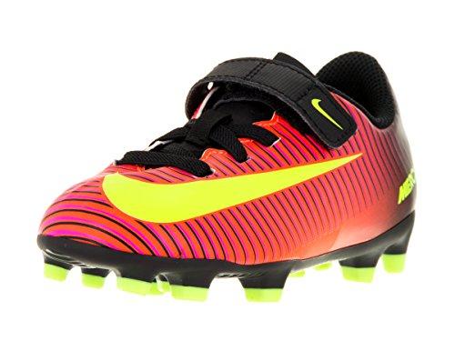 JR Mercurial Vortex III (V) FG, Botas de Fútbol Unisex Niños, Naranja (Total Crimson / Vlt-Blk-Pnk Blst), 34