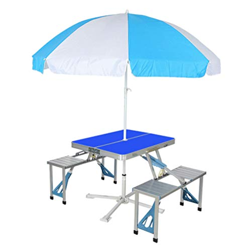 Table Pliante Valise Ensemble de Tables et Chaises Siamoises en Alliage D'aluminium 4 Sièges Pliable Portable Poignée de Bagage Design Trou pour Parasol