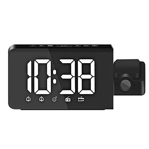 LbojailiAi - Reloj despertador LED multifunción con temporizador de proyección de radio digital