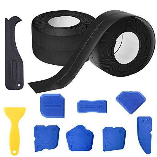 Cinta selladora autoadhesiva resistente al agua, 2 unidades de cinta de sellado y 9 piezas de raspador de juntas para baño, cocina, habitación, suelo, esquina, suelo (negro)