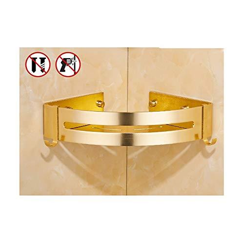 UNILIFE Dusch-Eckregal, Wandmontage, Aluminium, Badezimmerregal, stark klebend, kein Bohren, rostfreier Korb, Organizer zum Aufhängen