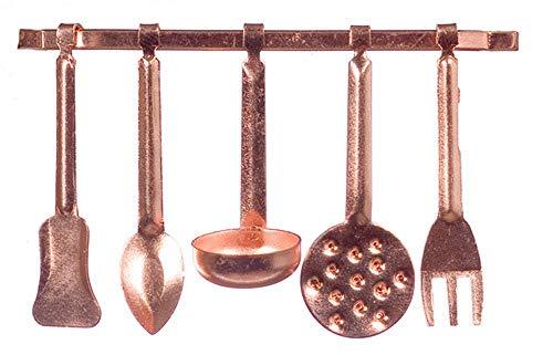 Melody Jane Accesorio de Cocina Miniatura Casa de Muñecas Cobre Colgante Utensilios y Estante 5055
