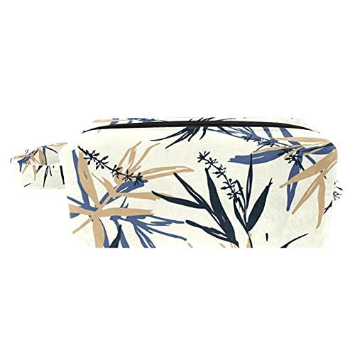 Bolsa de brochas de maquillaje para mujer, bolsa de aseo portátil, bolsa de cosméticos, organizador de viaje, color azul, beige y hojas de bambú y flores