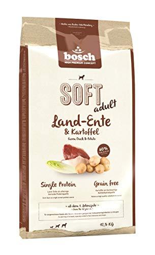 bosch HPC SOFT Land-Ente & Kartoffel | halbfeuchtes Hundefutter für ausgewachsene Hunde aller Rassen | Single Protein | Grain-Free | 1 x 12.5 kg