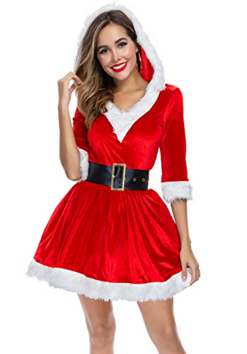 Women's 2 Piece Mrs. Santa Costume Claus Dress Cosplay Sexy Outfit Costume (XL(16-18), Red)