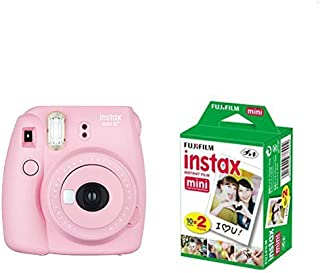 FUJIFILM インスタントカメラ instax mini 8+(プラス) ストロベリー&フイルム20枚セット