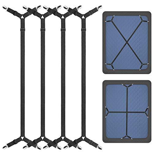 ZHOUBIN Bed Sheet Holder Straps, Adjustable Elastic Crisscross Bed Sheet Fastener Straps Grippers Suspenders for All Bed Sheets, Mattress Covers(2 Set/4Pcs, Black)