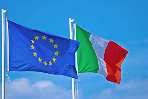 NS BANDIERE Set 2 Bandiere Italia-Europa cm 100x150 Tessuto Nautico di 130 gr. m²