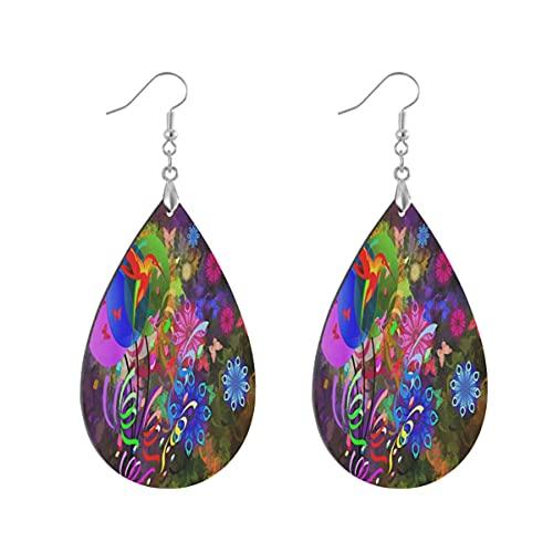 1 par de pendientes de madera con forma de gota de agua, globos de pájaros, flores, pendientes de madera pintados para mujer, Teardrop, Madera Cobre Plata,