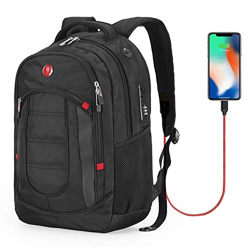 Cross Gear Backpack with USB Charging Port Laptop bag and Combination Lock- Fits Most 15.6 Inch Laptops and Tablets CR-9003BK-USB