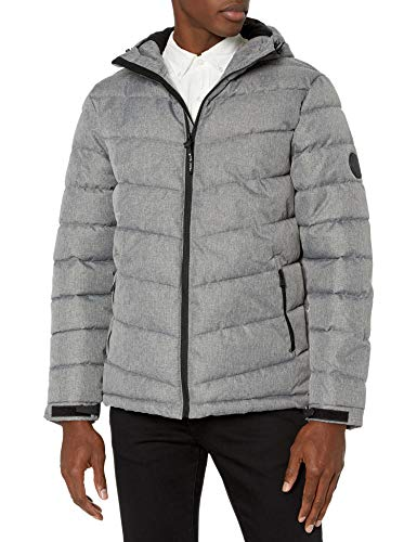 Perry Ellis Men's Heather Puffer Jacket with Hood, Silver, X-Large