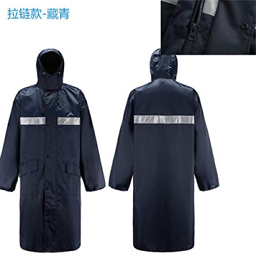 ZWYM Long Raincoat Hooded Men Waterproof Reflective Oxford Cloth Plastic Trench Coat Anti-Storm Overall Outdoor Travel Rain Coat-A-Zipper_LVestes Coupe Pluie randonnée