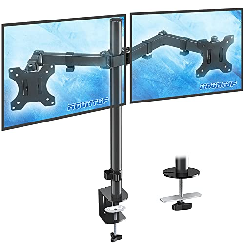 MOUNTUP Dual Monitor Desk Mount Stand, Full Motion Computer Monitor Arm Mount for 2 LCD Screens up...