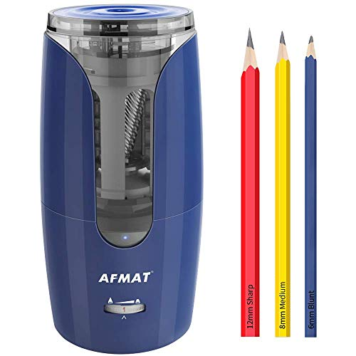 Jumbo Pencil Sharpener, Fat Pencil Sharpener for Colored Pencils, Rechargeable Electric Pencil Sharpener for 6-12mm Pencils, Super Quiet Long Lasting Pencil Sharpener for Artists, Blue