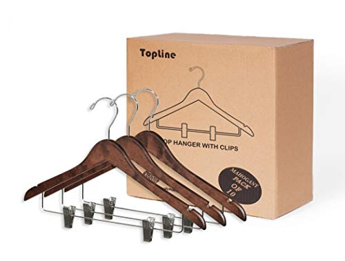 Topline Classic Wood Shirt Hangers with Clips - Mahogany Finish (10-Pack)