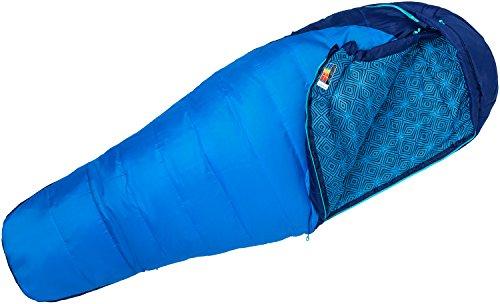 Marmot Women's Wm's Trestles 15 Mumienschlafsack für Damen, Leichter und Warmer 3 Jahreszeiten Kunstfaser Schlafsack, ideal zum Camping und Trekking, French Blue/Harbor Blue, Normal: 168 cm