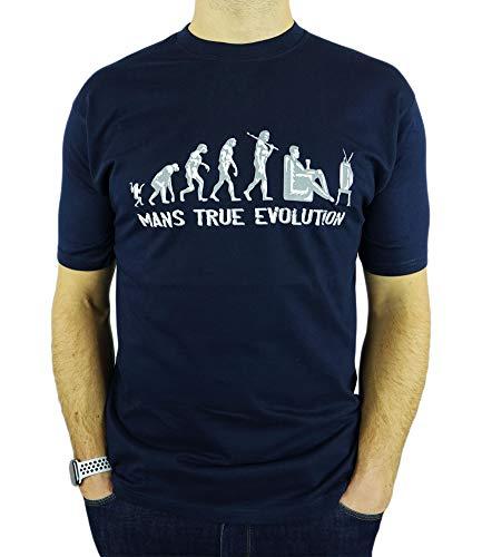 My Generation Gifts Mans True Evolution -Uomo Birra Divertente Regalo di Compleanno Bere/Uomini Presenti T-Shirt Blu Marino M