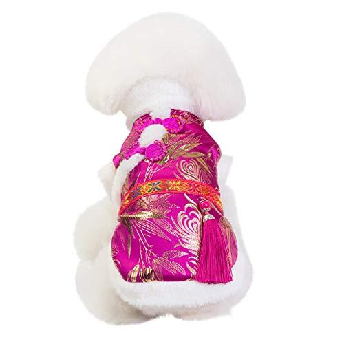 TWBB Ropa para Mascotas, 2020 Año Nuevo Navidad Traje Tradicional Chino para Perro Mascota Gato Invierno Cálido Felpa Forrado Ropa Estampada Camisa Chaleco Yorkshire Terrier, Chihuahua