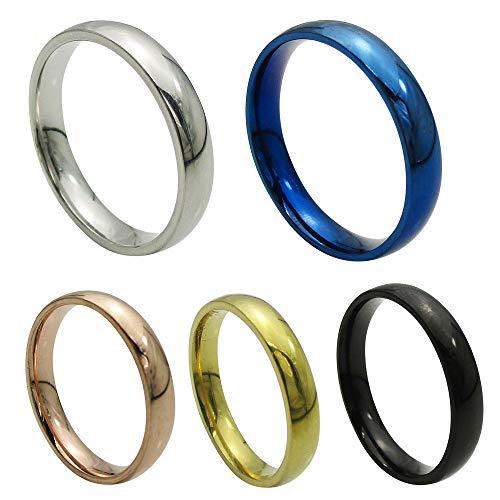 ステンレス リング (16) 甲丸 サージカルステンレス 316L 指輪 金属アレルギー対応 黒色(ブラック) 17号