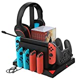 FYOUNG Vertical Charging Stand Storage Tower Compatible with Nintendo Switch Joy Cons, for Pro Controllers with Cooling Fans Compatible for Nintendo Switch and Gaming Headset Stand