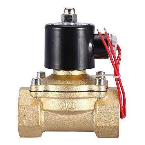 FYYONG. Elettrovalvola elettrica, DN32 Normalmente chiuso 2 posizioni 2 Valvola magnetica elettromagnetica a 2 vie per il fluido dell'acqua Controllo dell'olio del combustibile del gas AC 220V 1-1/4