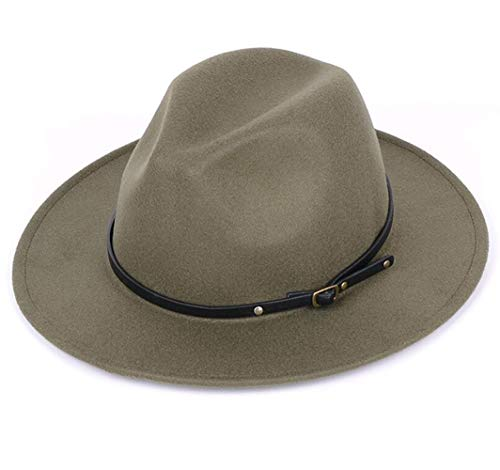 Lanzom Women Lady Retro Wide Brim Floppy Panama Hat Belt Buckle Wool Fedora Hat (Army Green, One Size)