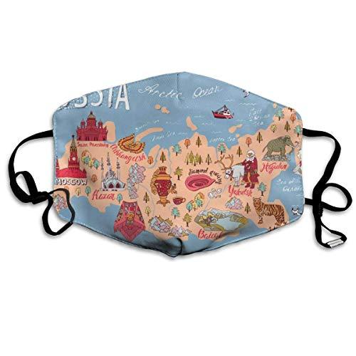 Kaart van Rusland Gezicht Cover Verstelbare Oorlussen Ademende Herbruikbare Outdoor Mond Cover Stofhoes voor Volwassenen Kids