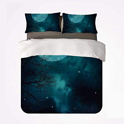 Espacio Luna en el cielo estrellado Universo Cosmos Temática espacial Crepúsculo místico Paisaje celestial,Juego de ropa de cama con funda nórdica de microfibra y 2 funda de almohada - 200 x 200 cm
