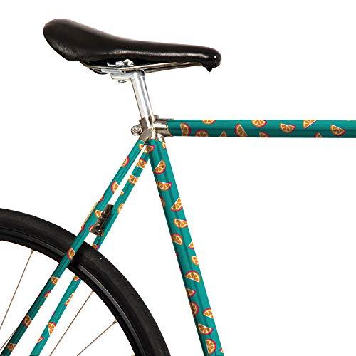 MOOXIBIKE Gina Orangina Mint Mini Fahrradfolie mit Muster für Rennrad, MTB, Trekkingrad, Fixie, Hollandrad, Citybike, Scooter, Rollator für circa 13 cm Rahmenumfang