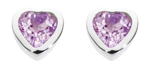 Dew Women's Sterling Silver and Amethyst Heart Stud Earrings
