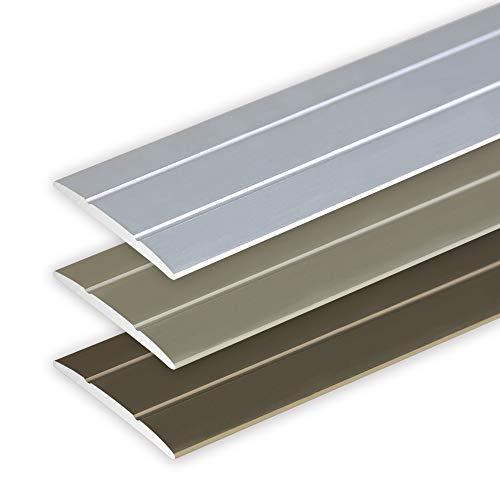 Toolerando Übergangsprofil Übergangsleiste Bodenleiste aus Aluminium Selbstklebend, Profil 134 cm x 36 mm x 2,5 mm, Silber
