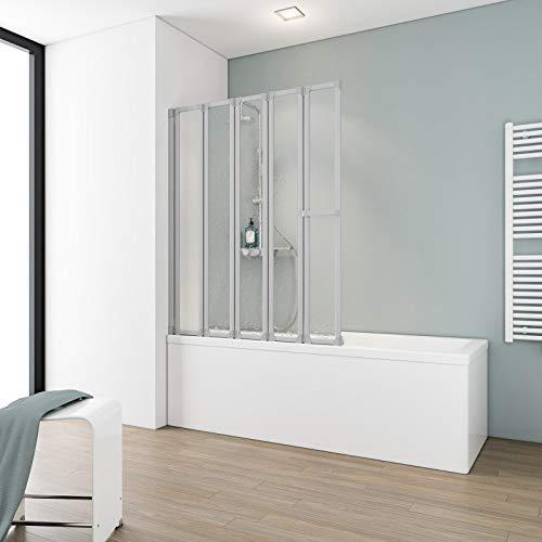 Schulte Duschabtrennung faltbar für Badewanne, 115 x 140 cm, einfacher Aufbau, Kunstglas softline hell, alunatur, Made in Germany, D1315 01 01
