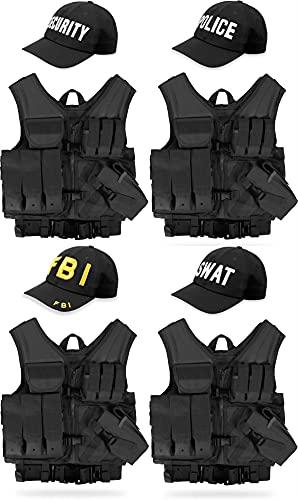 normani Taktische USMC Weste mit Holster, Lochkoppel mit passender Cap aus Baumwolle - 4 Verschiedene eingestickte Aufschriften SWAT, FBI, Police, Security Farbe Schwarz Security