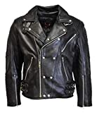 IKLeather MC Refashioned Men's Motorcycle Biker Jacket Black Genuine Leather (XXL)