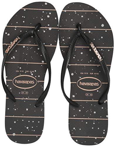 Havaianas Women's Slim Logo Metallic Flip Flop Sandal, Black/RoseGold, 7/8 M US