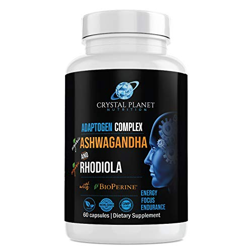 Organic Ashwagandha, Rhodiola Rosea, Black Pepper Extract to Improve Energy and Endurance, Adrenal and Thyroid Support, Anxiety Relief, Mood Enhancer, Cortisol Manager & Sleeping Support 60 Capsules