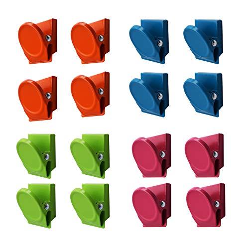 Magnetpro 16 piezas Clips metálicos magnéticos de varios colores, refrigerador, pizarra, pared, nota magnética, clip de nota