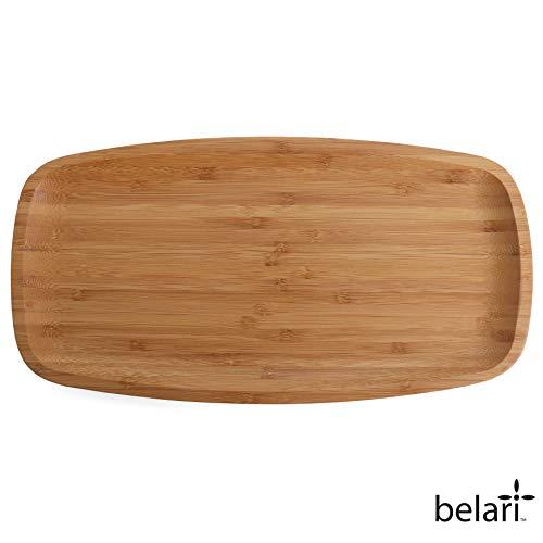 Belari 14' Bamboo Plate Set - Bamboo Reusable Plates - Rectangle Bamboo Plates - Wood Plates Dinnerware - Bamboo Dinner Plates - Bamboo Dinnerware Set - Eco Friendly Plates (4 Pack / 14' Rectangle)
