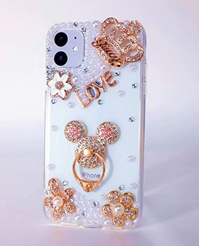 Max-ABC Compatible with iPhone 12/iPhone 12 Pro Case 3D Glitter Cartoon Mickey Mouse Bling Case Shiny Crystal Rhinestone Diamond Bumper Clear Protective Cover Designed for iPhone 12/12 Pro 6.1''