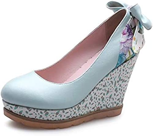 ZHZNVX Wohommes chaussures Microfiber Spring Spring & Summer Comfort Heels Wedge Heel blanc rose Royal bleu  vendre comme des petits pains